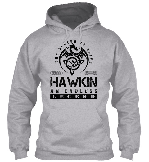 Hawkin   Legends Alive Sport Grey T-Shirt Front