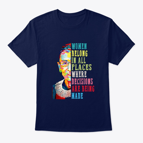 Women Belong In All Places Rbg Shirt Navy T-Shirt Front