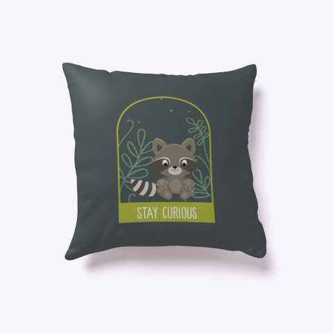 Baby Racoon Stay Curious Dark Grey T-Shirt Front