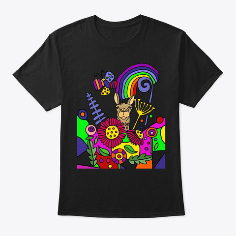 Funny Llama In The Garden Abstract Black T-Shirt Front