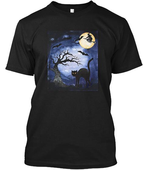 Black Cat Full Moon Bats Halloween Adult Black T-Shirt Front
