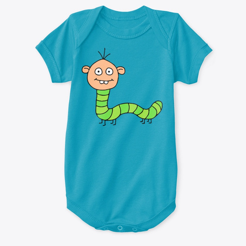 Caterpillar Person   Weird Funny Turquoise T-Shirt Front