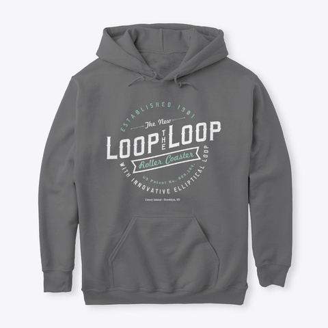 Loop The Loop Vintage Retro Logo Dark Heather T-Shirt Front