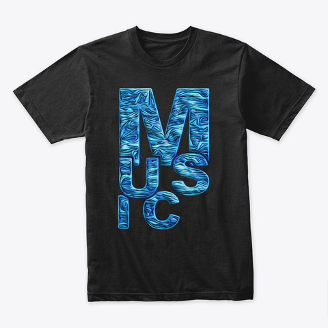 Blue Music Black T-Shirt Front