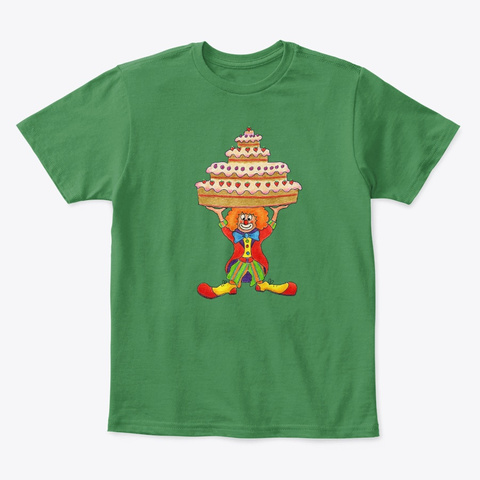 Monica Hulsing Clown With Party Cake Kelly Green  T-Shirt Front