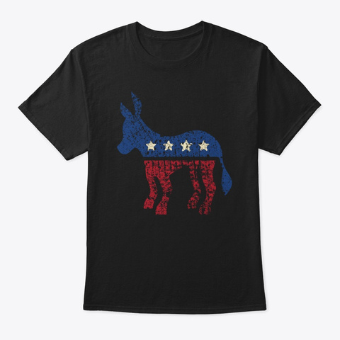 Democrat Donkey Biden Vintage Retro  Usa Black T-Shirt Front