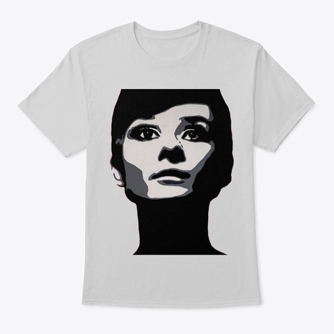 Audrey Hepburn Portrait Light Steel T-Shirt Front
