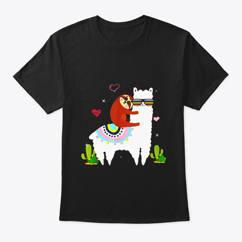 Sloth Riding Llama Funny Gift For Kids Black T-Shirt Front