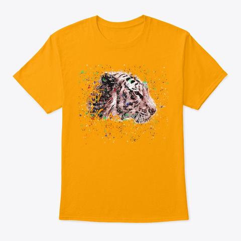 Tiger Splash Paint Gold T-Shirt Front