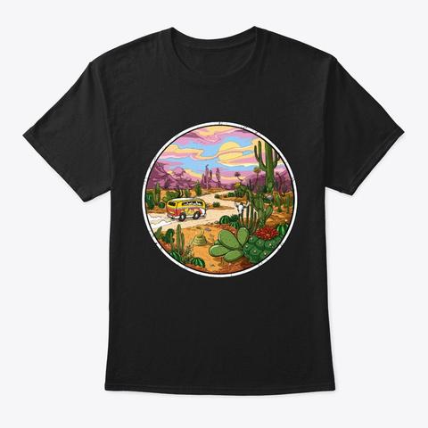 Hippie Van Cactus Desert  Black T-Shirt Front