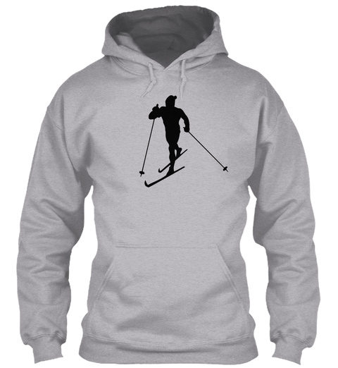 Hoodie Cross Country Skiing Sports Sport Grey T-Shirt Front
