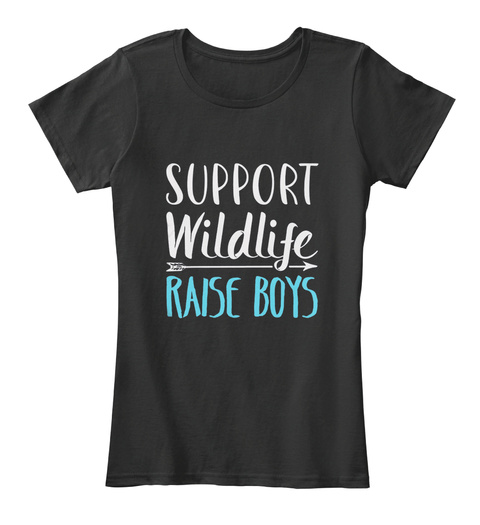 Support Wildlife Raise Boys Black T-Shirt Front