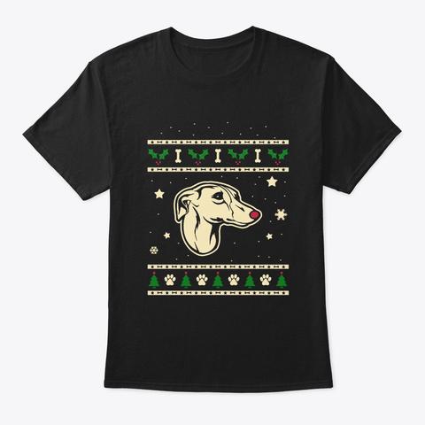 Christmas Whippet Gift Black T-Shirt Front