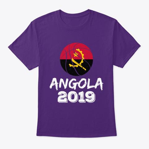 Angola Flag Basketball 2019 T Shirt Purple T-Shirt Front