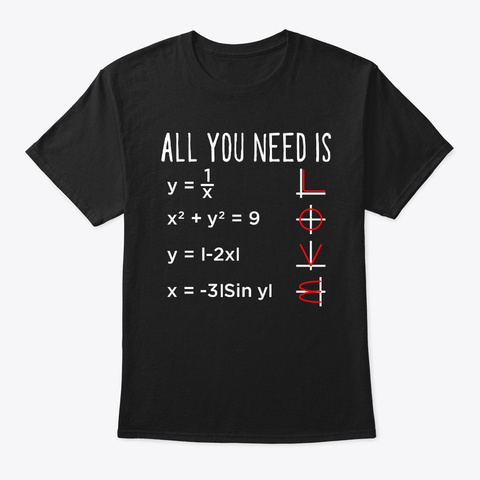 All I Need Is Love Math Shirt Funny Math Black T-Shirt Front