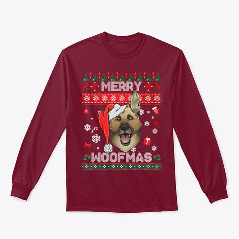 German Shepherd Merry Woofmas Gift Cardinal Red T-Shirt Front