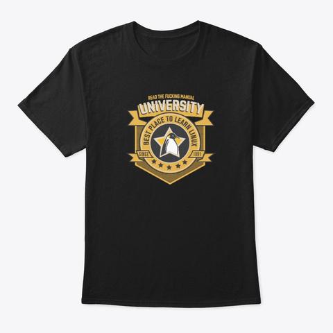 Rtfm Unversity. Linux Print. Black T-Shirt Front