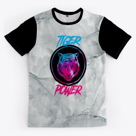 Tiger Power | Tie Dye Tiger Design Black T-Shirt Front