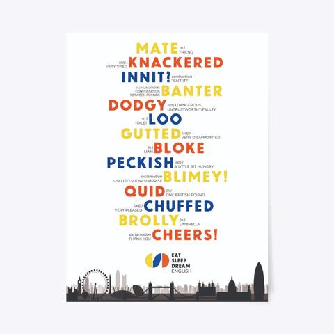 British Slang Poster Standard T-Shirt Front