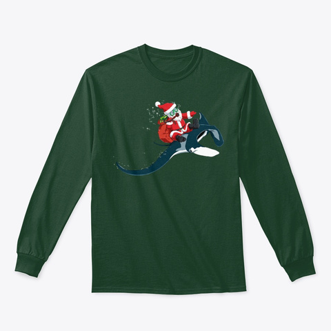 Christmas Manta Ray Xmas Diving Gift Forest Green T-Shirt Front