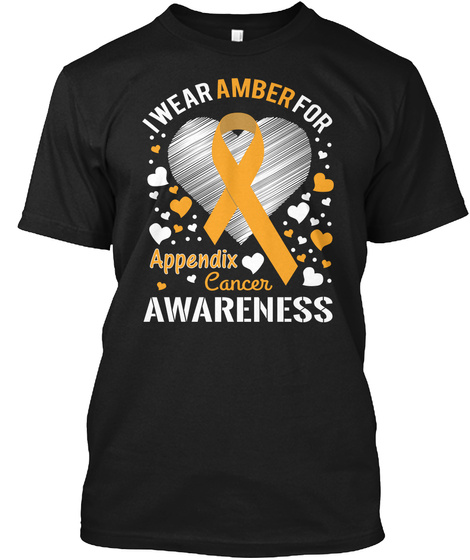 I Wear Amber For Appendix Cancer Awareness Black áo T-Shirt Front