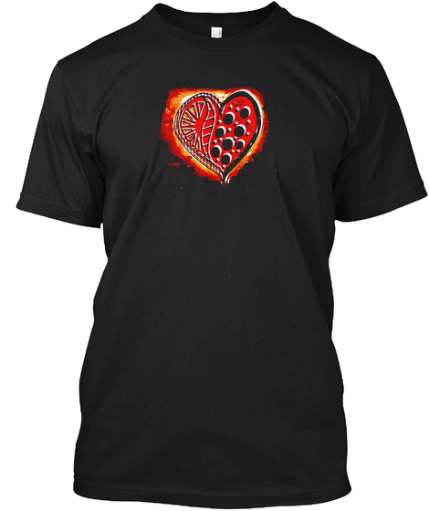 This Burning Heart Black T-Shirt Front