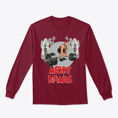Merry Liftmas Santa Workout Lifting Cardinal Red T-Shirt Front
