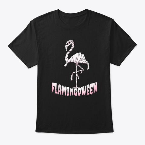 Funny Flamingoween Flamingo Halloween  Black T-Shirt Front
