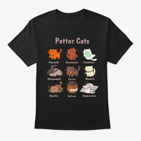 Potter Cats Funny Gifts For Cat Lovers Black T-Shirt Front