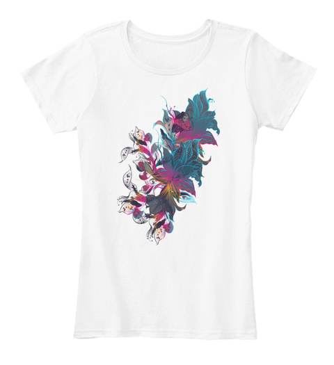 Awesome Flowry Design For Girls. White Women's T-Shirt Front