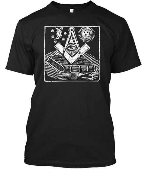 Masonic All Seeing Eye Art Masonry Black T-Shirt Front
