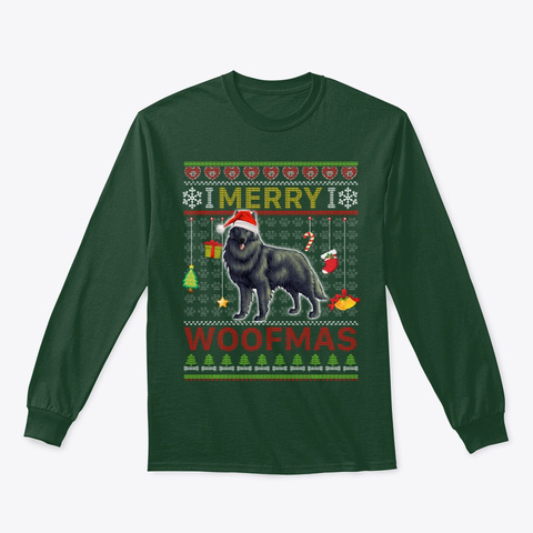 Merry Woofmas Belgian Sheepdog Dog Lover Forest Green T-Shirt Front