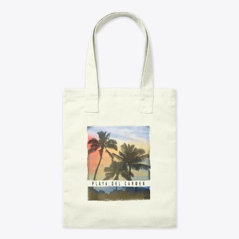 Playa Del Carmen Palm Tree Sunset Natural T-Shirt Front