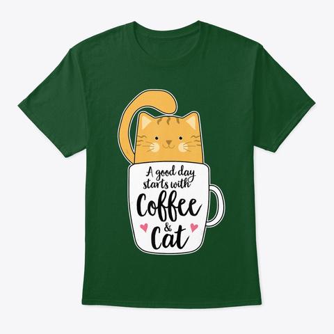 Funny Orange Cat Coffee Mug Tshirt Cat Deep Forest T-Shirt Front