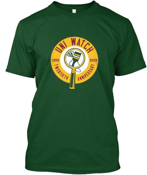 Uni Watch 1999 2019 Twentieth Anniversary Deep Forest Camiseta Front