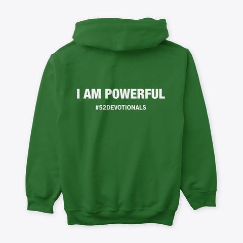 #52 Devotionals I Am Powerful Irish Green T-Shirt Back
