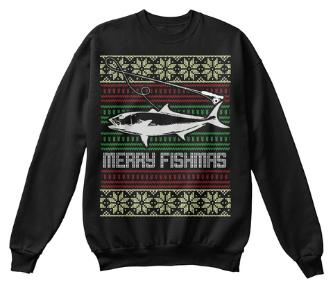 Merry Fishmas Jet Black T-Shirt Front