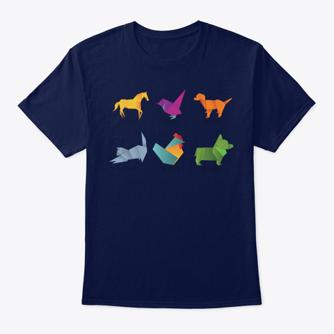 Origami Navy T-Shirt Front