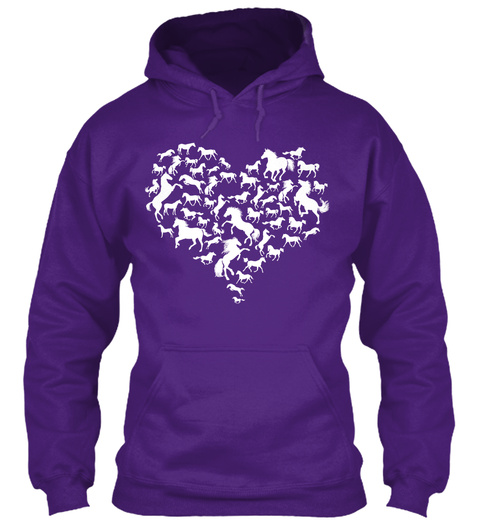 Heart Filled With Horses Purple T-Shirt Front
