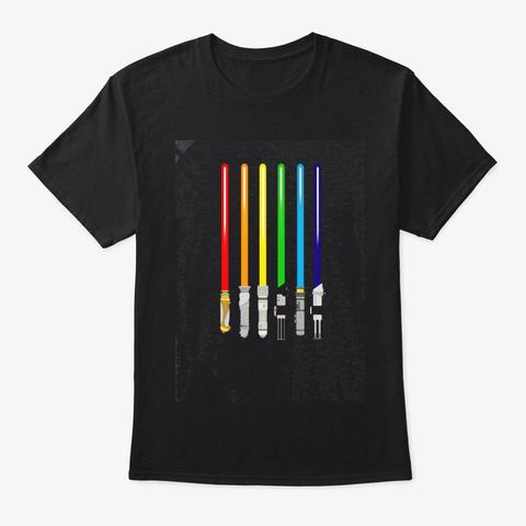 Lgbt Flag Light Swords Gay Pride Sword Black T-Shirt Front