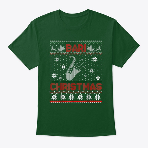 Baritone Saxophone Lover Christmas Deep Forest T-Shirt Front
