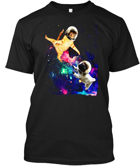 Cute Space Cat vs Pug Shirt Galaxy Epic Fight In Outer Space Unisex Tshirt