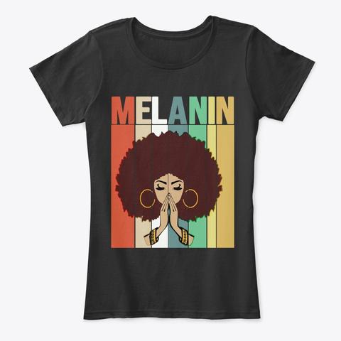 Vintage Melanin Afro Queen Gift Black T-Shirt Front