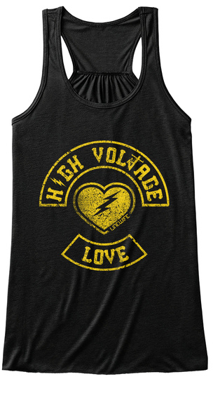 High Voltage Love  Black T-Shirt Front