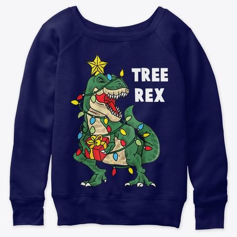 Christmas Dinosaur Tree Rex Funny Xmas Navy  T-Shirt Front