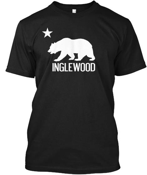 Inglewood And California Bear Black T-Shirt Front