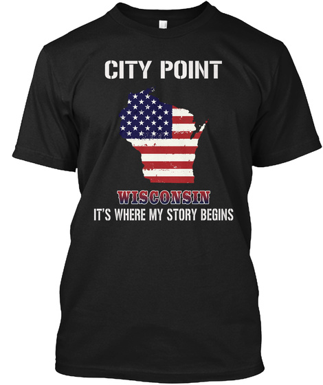 City Point Wi   Story Begins Black T-Shirt Front