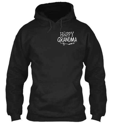 Happy Grandma Black T-Shirt Front