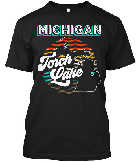 Torch Lake Retro Black T-Shirt Front