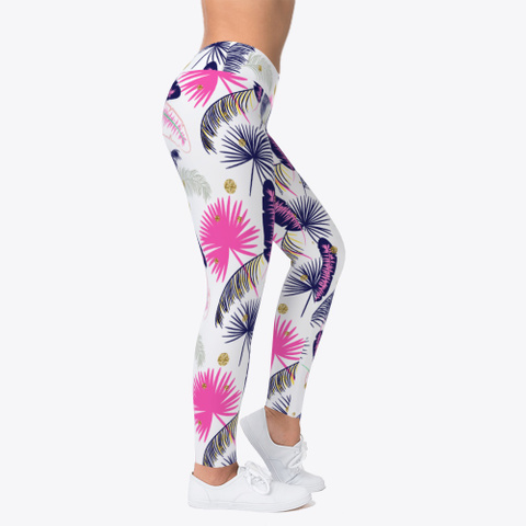 Pink Palm Pattern Leggings Light Yellow T-Shirt Right